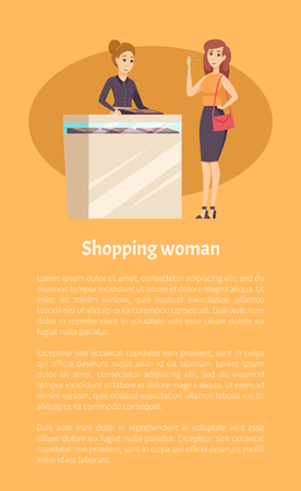 Shopping woman female in jewelry store with consultant vector. Woman trying on ring with diamond, accessory made of gold. Seller and customer poster