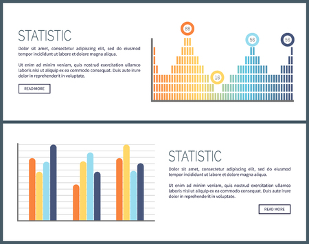Statistic web pages, visualized information on charts vector. Graphic scheme , presentation of business data. Results of research, info organization