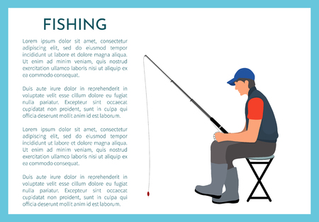 Fishing fisherman with rod vector illustration. Sitting fisher on folding chair in sportswear and cap with fish-rod watching bobber, sport theme Illusztráció