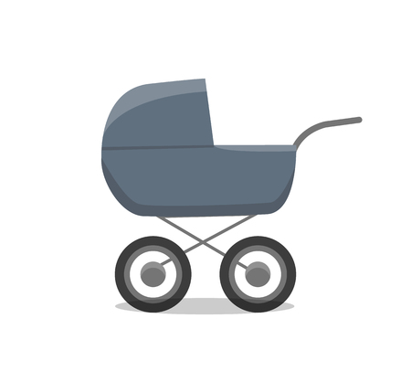 Pram with newborn little child isolated icon of perambulator for children young age vector. Infant care and transportation, carriage for child buggy Çizim