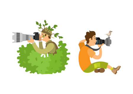 Photojournalist with camera gear, make zoom on shooting equipment, bird sitting on gadget. Paparazzi photographer isolated freelancer on job vector Illustration