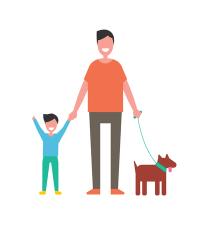 Dad and son plays with dog vector isolated on white. Happy fatherhood concept, father and boy spend time together, leisure activities, walk with pet Illustration