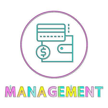 Management wallet with credit card. Icon of closed purse with money in circled frame. Dollar sign, line art style isolated on vector illustration Foto de archivo - 126785591