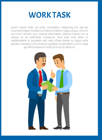 Work task vector poster. Company leader giving directions to young worker, executive boss and exhausted manager, partnership and collaboration in team