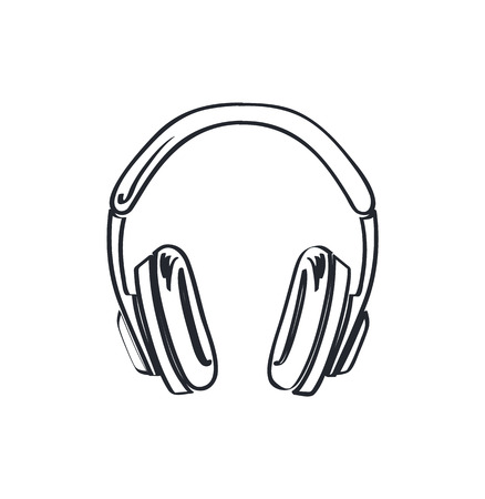 Headphones, headset with music playing loud monochrome sketch outline vector line art. Colorless device, listen to sounds, stereo audio accessory without cable