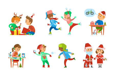 Christmas holiday children opening presents set vector. Skating rink with child, Santa Claus with helper and bag full of presents. Wish letter of boy Illusztráció
