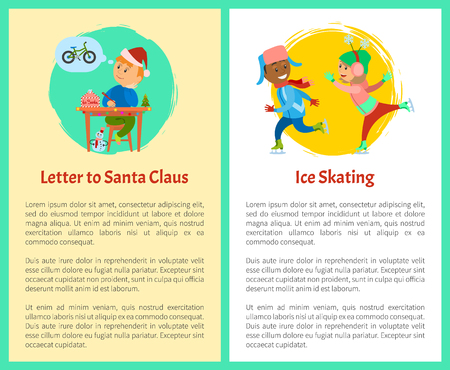 Letter to Santa and ice skating posters with text sample. Christmas holidays, boy thinking of wish to make, kid writing mail dreaming of bicycle, skaters Illustration