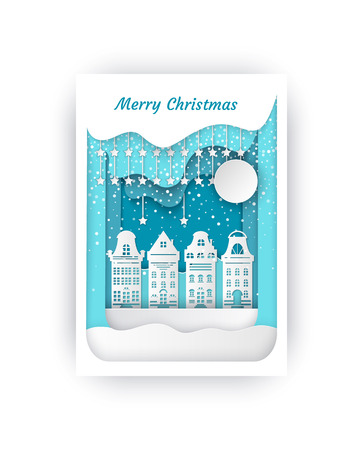 Merry Christmas cut out paper buildings cityscape vector. Snowing weather snowfall in town, homes of people with stars and bright moon shining above Illusztráció