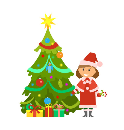 Christmas holidays evergreen pine tree and snow maiden woman vector. Decorated fir spruce with shining star toy on top. Garlands and baubles balls
