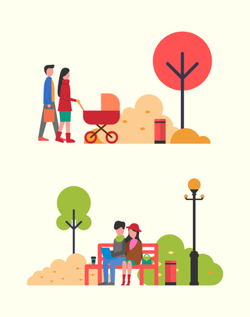 Family people with pram, couple working in park vector. Autumnal trees, fall season, relaxation on wooden bench. Freelancers working together outdoors