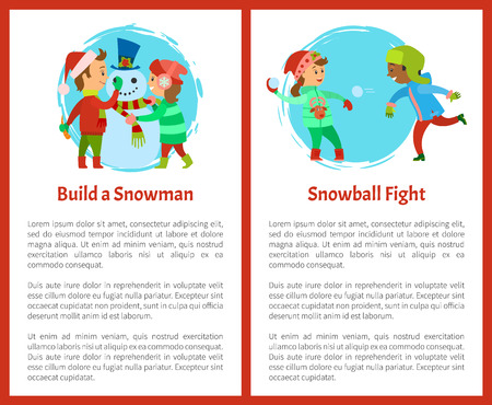 Build a snowman and snowball fights postcards. Happy holidays, children making man of snow, fighting by icy balls, vector posters, text sample and circle Ilustração