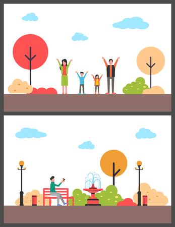 Autumn walking in park. Rest around trees. Family active recreation between trees and person enjoying with bird on bench near fountain vector illustration Illustration