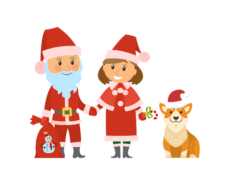 Santa Claus Christmas holidays, winter character vector. Female helper of old man with beard and presents in bag, dog wearing red hat. Canine animal
