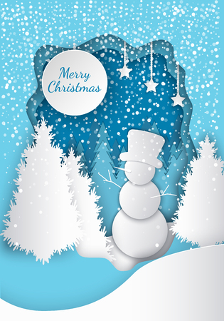 Forest Merry Christmas paper cut. Fir-trees and snowman with big hat, stars and snowflakes, drift and scurry. Frost in night time. Gift on holiday vector Illustration
