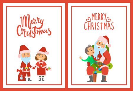 Merry Christmas, winter characters kid boy making wish vector. Santa Claus with sack presents to children and Snow Maiden helping him. Wintertime set