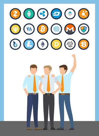 Bitcoin financial workers, males wearing formal suits vector. Isolated icons of cryptocurrencies, monero and dogecoin, litecoin and dash, ripple ether