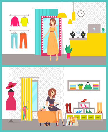 Shopping women in stores buying clothes vector. Lady sitting on chair trying shoes with heels, dress and sweaters. Counter with jewelry accessories