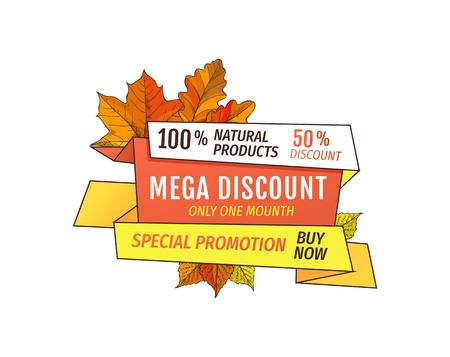 Sconto speciale promozione il giorno del Ringraziamento, offerta esclusiva acquista ora etichetta prodotto naturale con foglie d'acero. Fogliame giallo dell'etichetta di vendita di autunno di vettore Vettoriali
