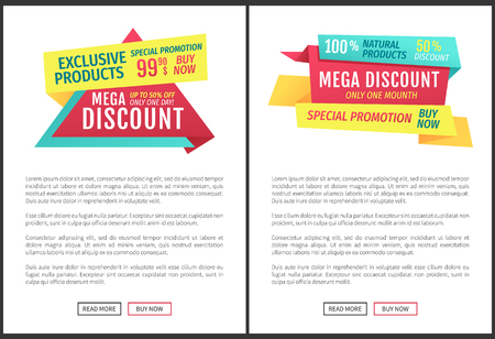 Exclusive mega discounts posters set. Special promotions with recommended goods super sales and month reduction of prices. Deals and proposals vector