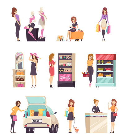 Woman shopping at stores shops set vector. Cosmetics stand, food refrigerator with fruits, car with bags. Jewelry consultant and buyer, hat wearing Illustration