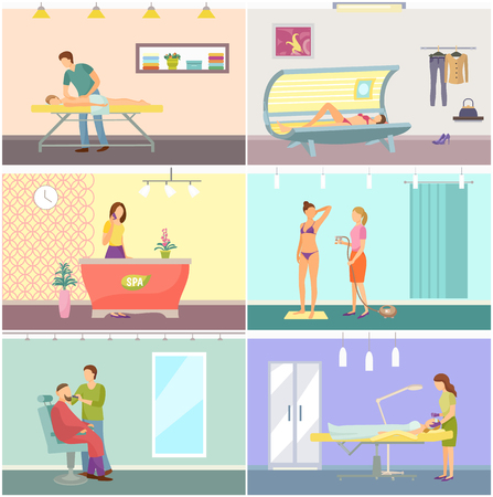 Spa and cosmetic center interior cartoon vector banner set. Beauty salon with solarium and massage room and modern comfortable equipment for clients Illustration