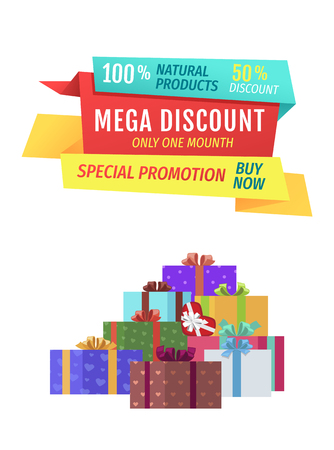 Mega discount special promotion natural products assurance. Presents decorated with ribbons and wrapping paper. Exclusive goods on holiday vector