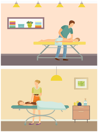 Massage by masseur and chocolate spa treatment of back skin set vector. Beauty salon and industry with professional workers and clients, aroma candle.  イラスト・ベクター素材