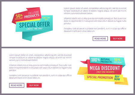 Special offer banners set, vector design. Mega discount, exclusive natural products, buy now button, limited time promotion, online poster sample
