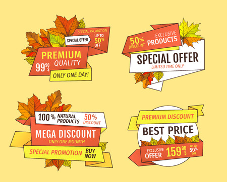 Promo price advertisement autumn labels with orange and yellow leaves isolated. Special offer sale only tomorrow up to fifty percent discount.