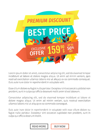 Best price exclusive offer vector special promotion of autumn. Poster with text and decreased prices. Half reduction of cost discounts sellout vector Stock Vector - 126588657