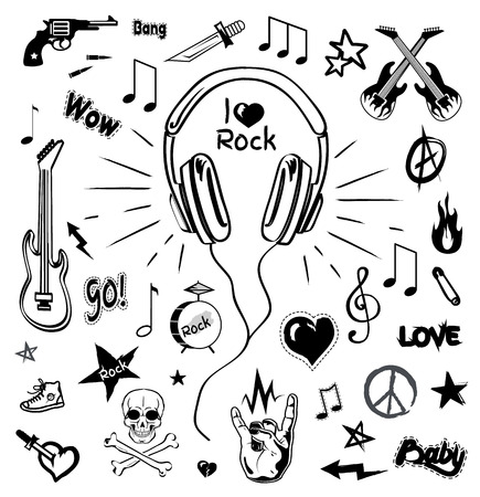 Headphones and electric guitar monochrome sketches icons vector. Audio and stereo sound, rock sign and skull with bones symbol. Revolver and star Ilustração