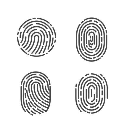 Security and prints of fingers to pass access. Identification fingerprints sketches set icons vector. System of bio recognition, identifying methods Фото со стока - 126588661