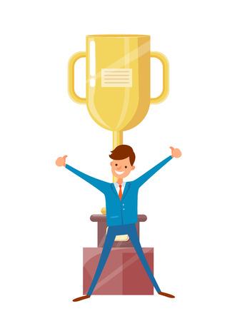 Man in Suit Raised Hands Up, Big Golden Trophy Cup