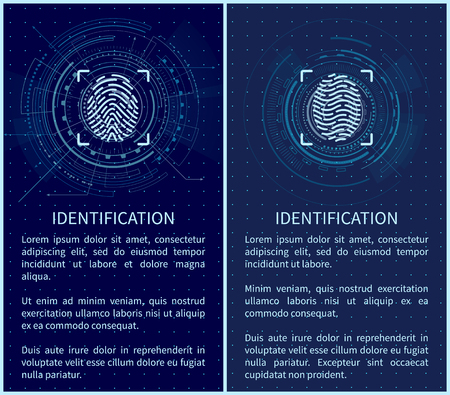 Identification fingerprints posters set with text sample vector. Fingermark and thumbprint authorization of unique personal finger pattern of human