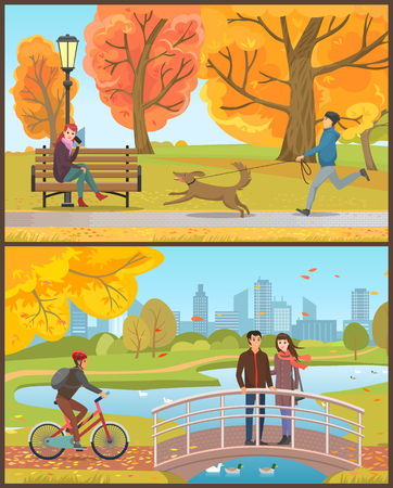 Autumn park, man running with dog near woman talking by phone on bench. Guy in helmet riding bicycle, couple on bridge over pond vector illustrations.