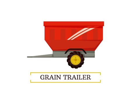 Grain trailer wheel and container isolated icon vector with text. Reservoir for transportation of farming crops and goods. Industrial device transit
