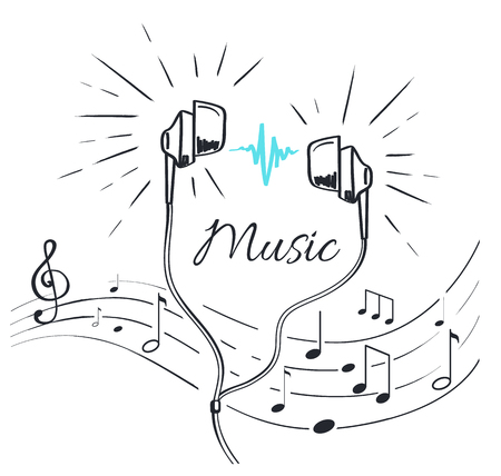 Music Headphones  with Sounds and Notation Sketch