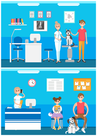 Veterinarian clinic reception, patients with pet vector. Hospital for animals, canine and kitten, nurse caring purebred mammal. Doctor examining dogs
