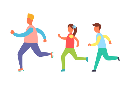 Running people set, isolated vector cartoon icon. Children jogging one after another, playing game, training exercise, sport and resting theme banner