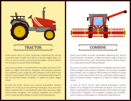 Combine and agricultural machine for land cultivation. Tractor vehicle harvesting devices and machinery in agriculture. Crops gathering set vector