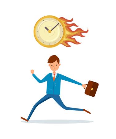 Date limite au bureau, horloge allumée et personnage masculin pressé avec une mallette. Homme d'affaires courant dans le stress, la gestion du temps, la dernière minute, regarde en feu
