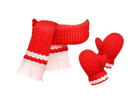 Woolen mittens and knitted scarf with white threads isolated vector. Winter neckcloth and gloves made of cachemire, fashion handmade wintertime cloth Illusztráció