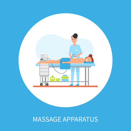 Massage on apparatus machine vector poster in circle with masseuse woman making relaxing procedure using electronic device. Woman in spa cabinet isolated Ilustração