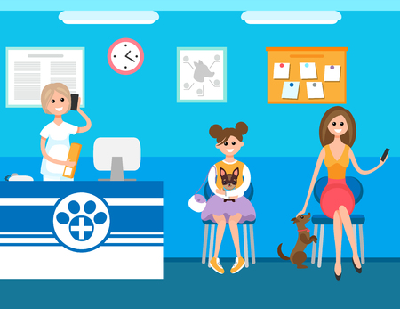 Veterinary clinic, hospital reception of woman vector. Medicine worker talking on mobile phone with clients, appointment and queue of people in line