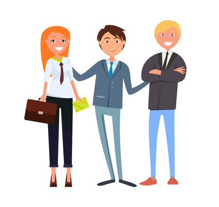 Man boss presenting businesswoman and businessman vector. Male and female working in business field, wearing formal costumes. Cooperation and success