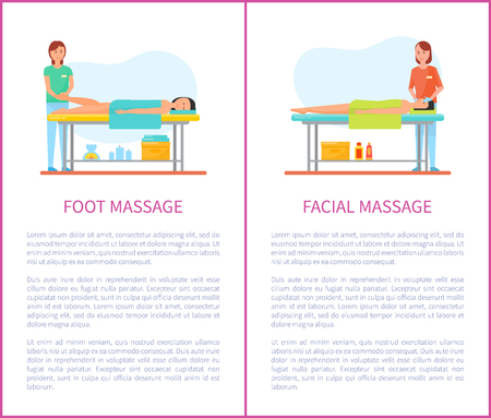 Foot and facial medical massage session cartoon vector set. Masseur in uniform and patient lying on table covered with towel, pleasant treatment theme Ilustração