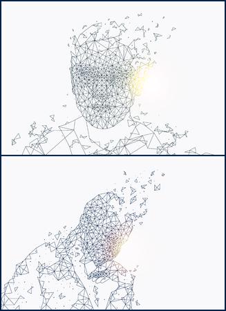 Las formas de la persona de inteligencia artificial establecen vector. Rostro y forma de bosquejo humano, monocromo de individuo abstracto futurista con mente creada por tecnología Ilustración de vector