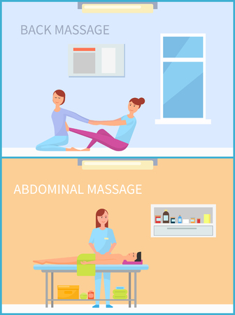 Back and Abdominal Massage Therapy Set Vector Çizim