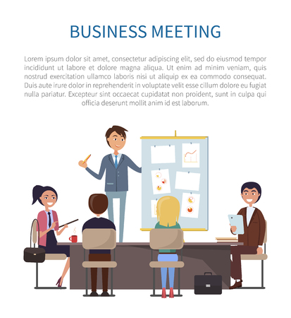 Business meeting, conference of boss and employees vector. Man giving presentation, presenting strategy and plan of company activities, chats and data Illustration
