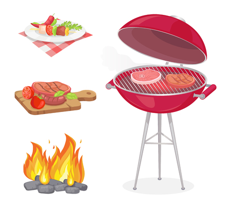 Beefsteak roasted meat on grille grid isolated icons set vector. Fire flame and beef served on plate and wooden boards. Dish with vegetables veggies